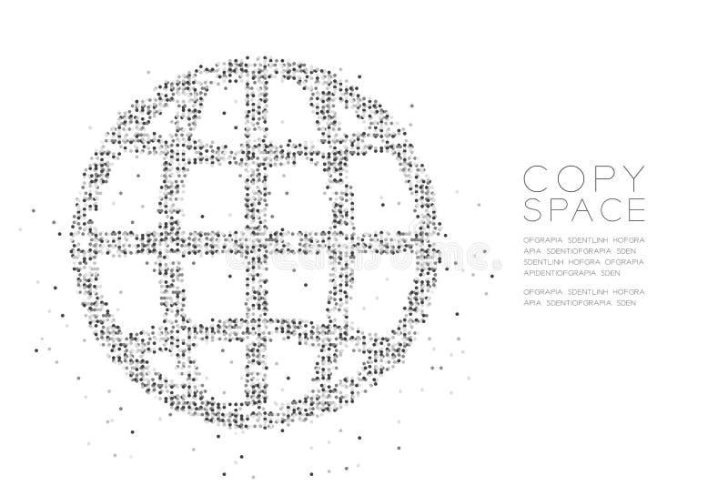 Abstract Geometric Circle dot pixel pattern Network icon shape, concept design black color illustration vector illustration