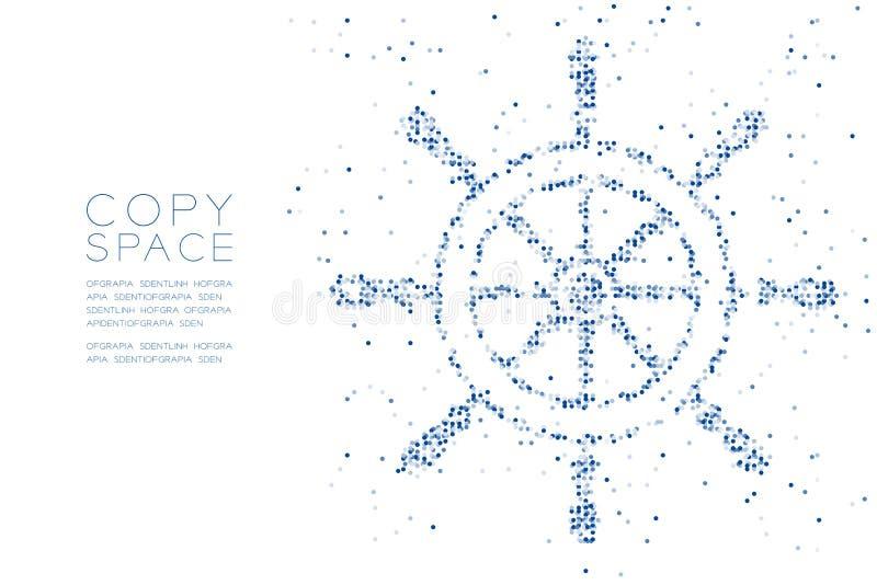 Abstract Geometric Circle dot pixel pattern Ship Steering Wheel shape, aquatic and marine life concept design blue color illustrat vector illustration