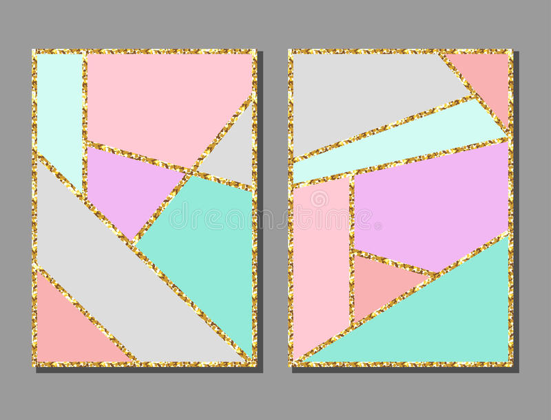 Abstract geometric colorful background cards set with gold glitter texture. vector illustration