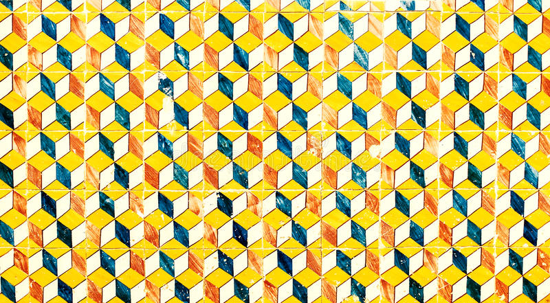 Abstract geometric colorful Moroccan, Portuguese tiles, Azulejo, ornaments as wallpaper, web, background, art textures - Lisbon. Portugal December 26, 2016 royalty free stock photos