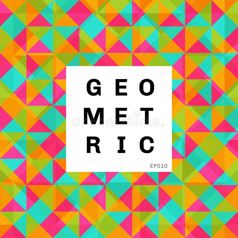 Abstract geometric colorful mosaic pattern background. triangles and square bright color vector illustration