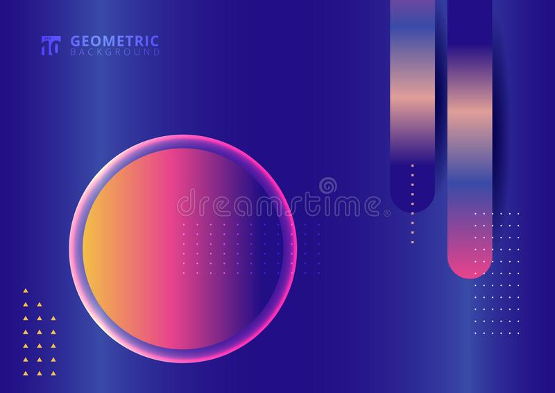 Abstract geometric colorful vibrant color on blue background with circle label shapes gradient elements bright color royalty free illustration