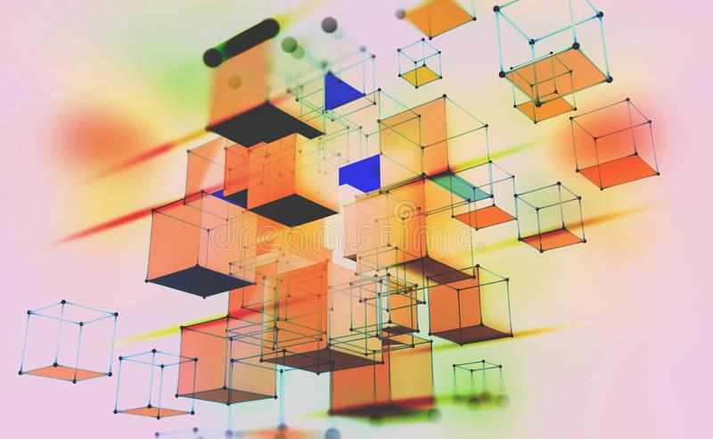 Abstract geometric composition. Volumetric cubes on a light background. Data blocks moved in cyberspace. 3D illustration with motion effect stock illustration