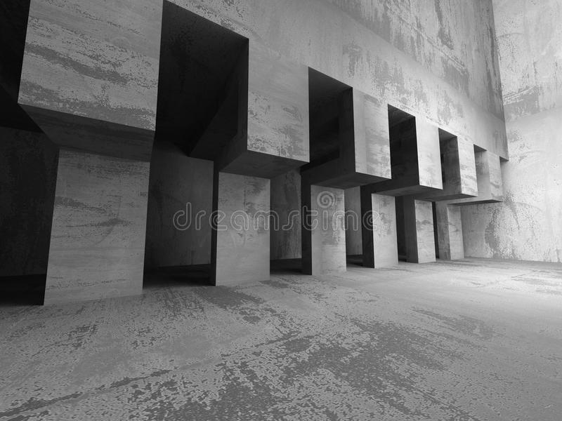 Abstract geometric concrete architecture background. 3d render illustration stock illustration