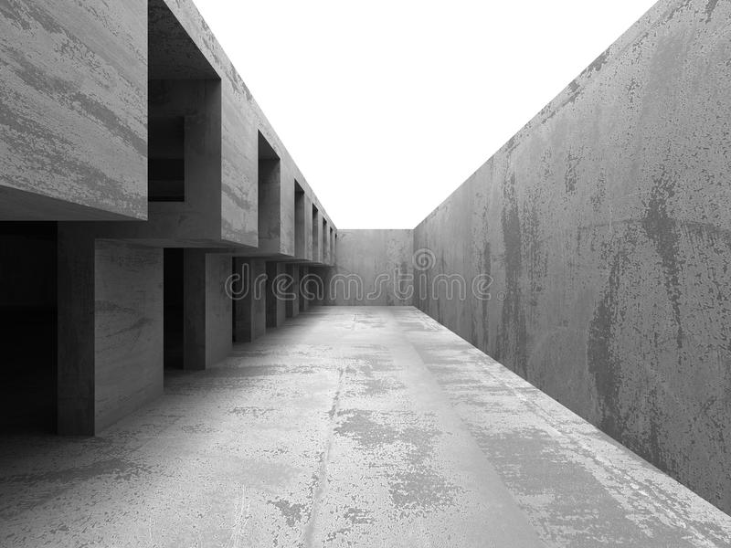 Abstract geometric concrete architecture construction. 3d render illustration vector illustration