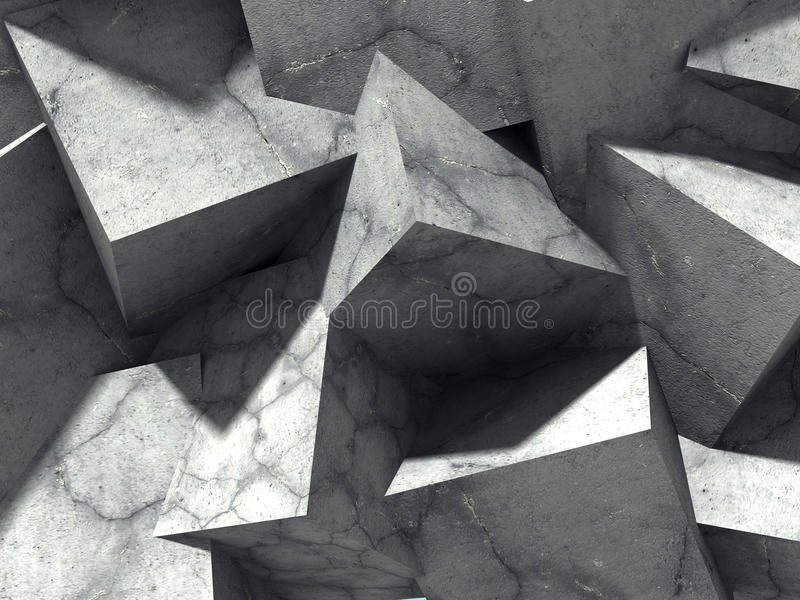 Abstract geometric concrete cubes blocks background royalty free illustration