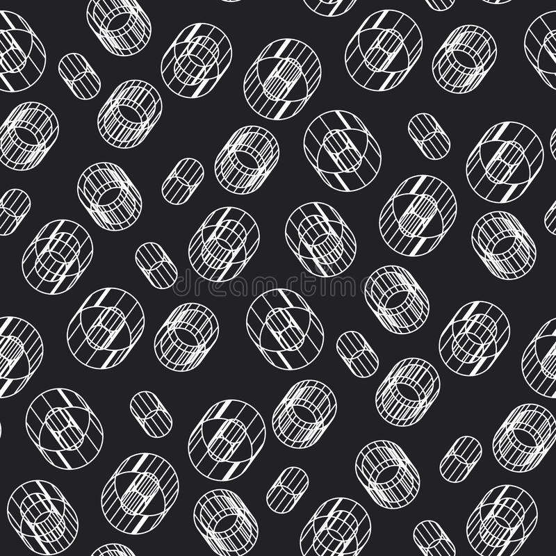 Abstract geometric construction seamless pattern stock illustration