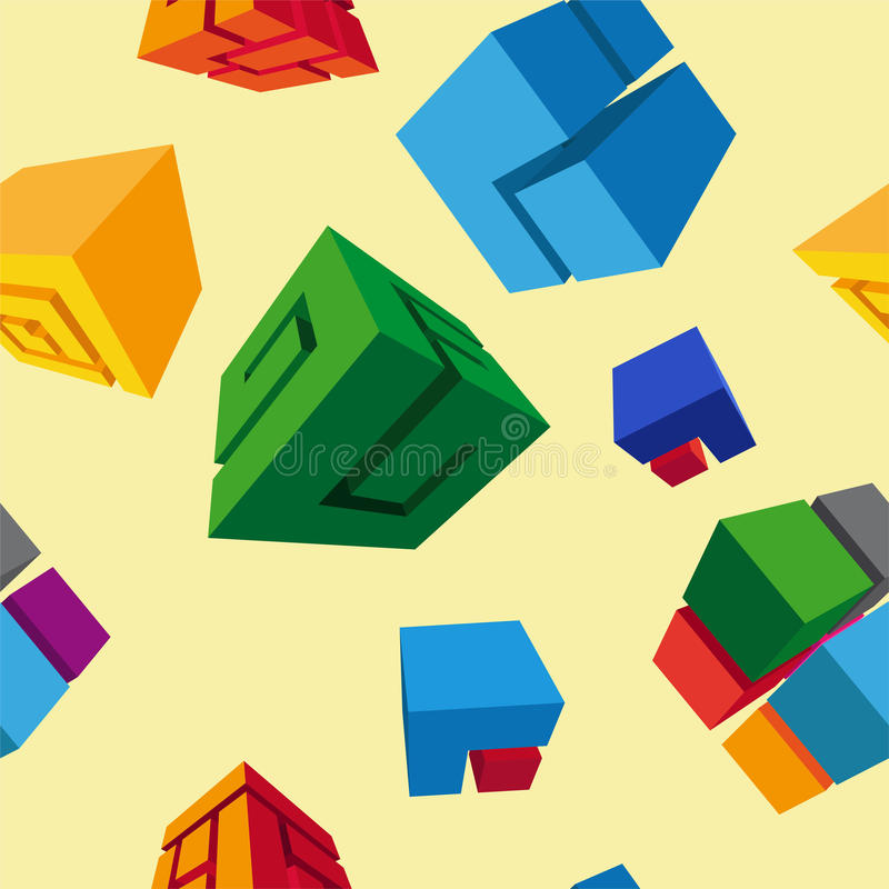 Abstract geometric cube seamless pattern vector illustration