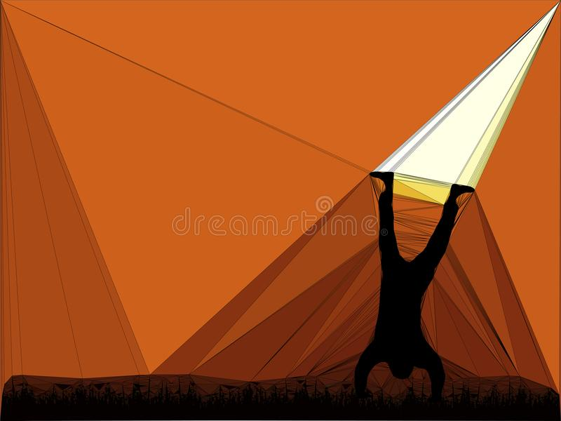 Abstract geometric design shapes silhouette of a person doing a handstand royalty free illustration