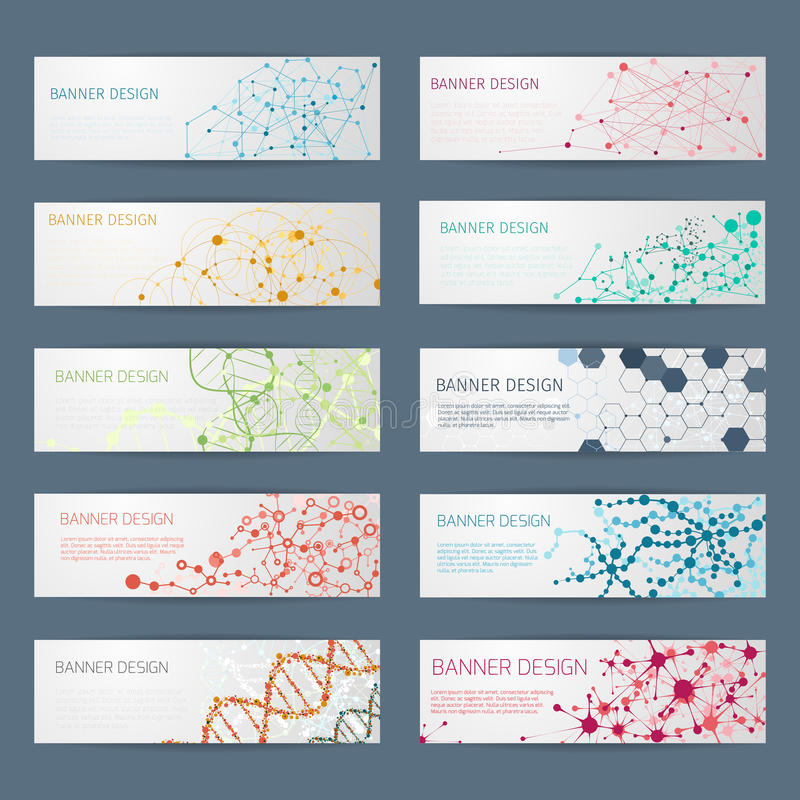 Abstract geometric DNA vector banners vector illustration