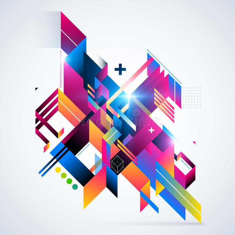 Abstract geometric element with colorful gradients and glowing lights. Corporate futuristic design, useful for presentations, adv. Ertising and web layouts stock illustration