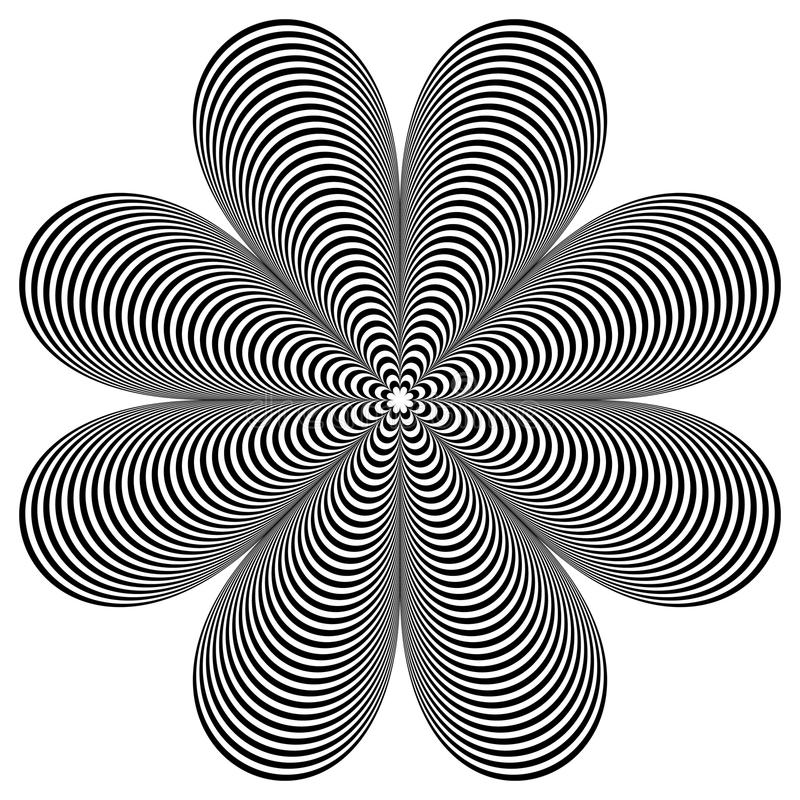 Abstract geometric element. Rotating shape of radial lines with vector illustration