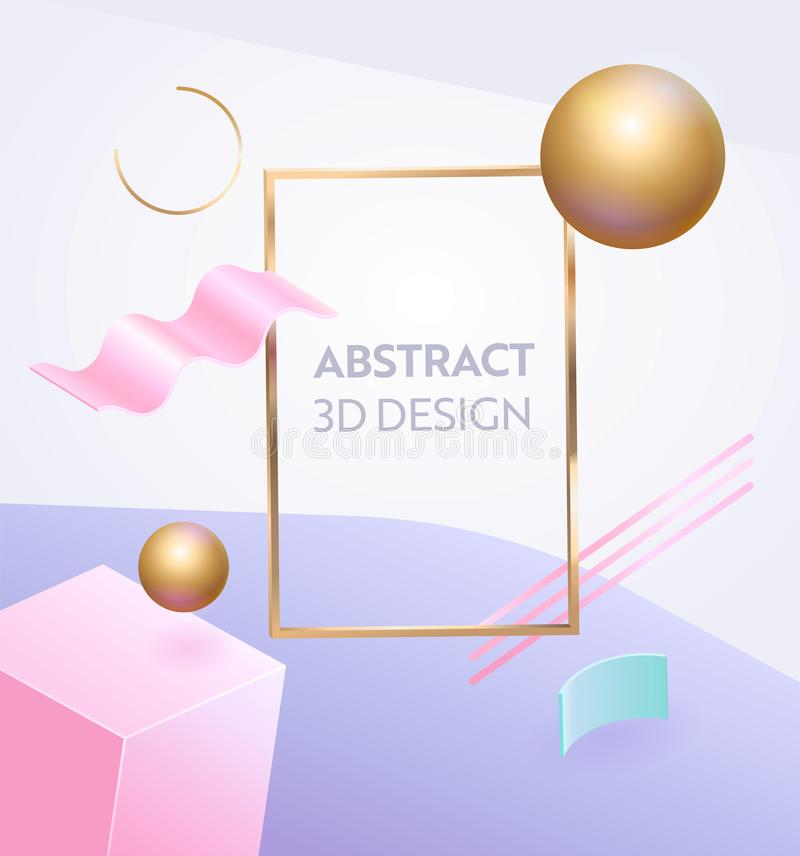 Abstract Geometric Figure Frame 3d Banner. Digital Graphic Background Gradient for Advertising Marketing Poster. Dynamic vector illustration