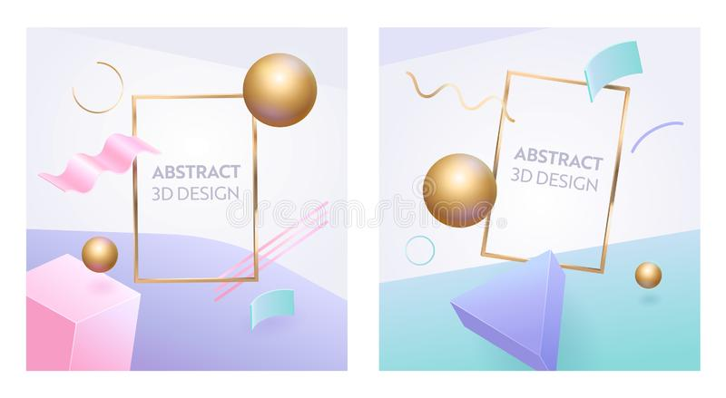 Abstract Geometric Figure Frame 3d Banner Set. Digital Graphic Sphere Shape Background for Advertising Marketing Poster stock illustration