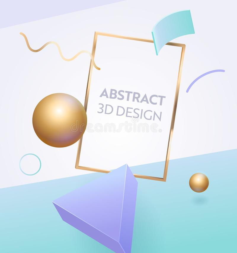 Abstract Geometric Frame 3d Banner Design. Digital Graphic Figure Background for Advertising Marketing Poster. Dynamic vector illustration