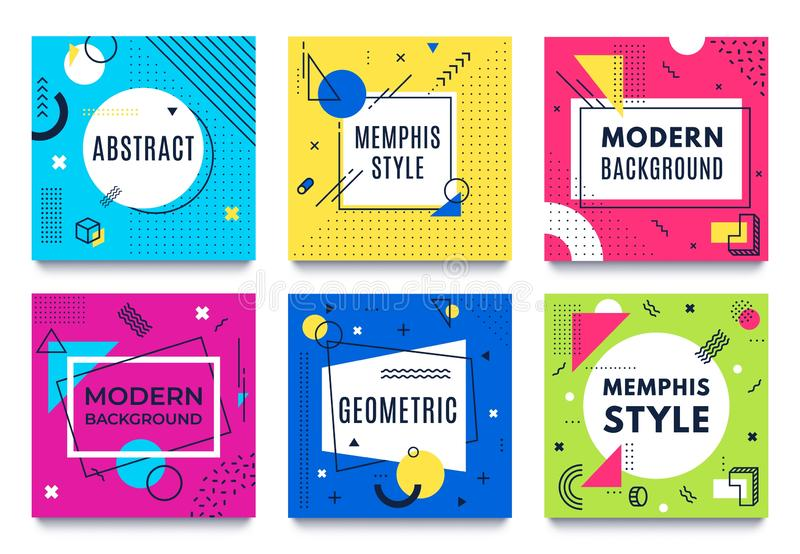Abstract geometric frame. Memphis square cards, funky colourful stripes and dots shapes and quotes text frames vector illustration