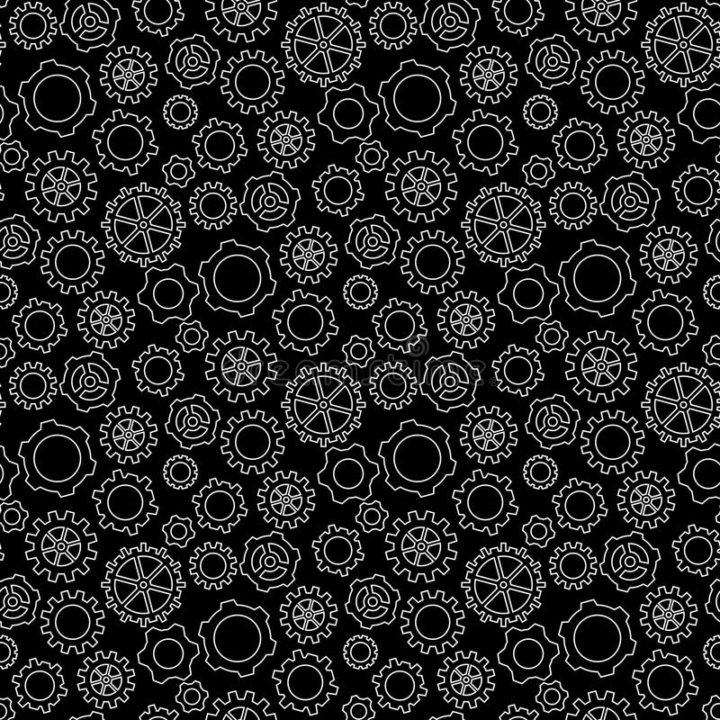 Abstract geometric gear black and white graphic design cog wheel pattern. Background royalty free illustration