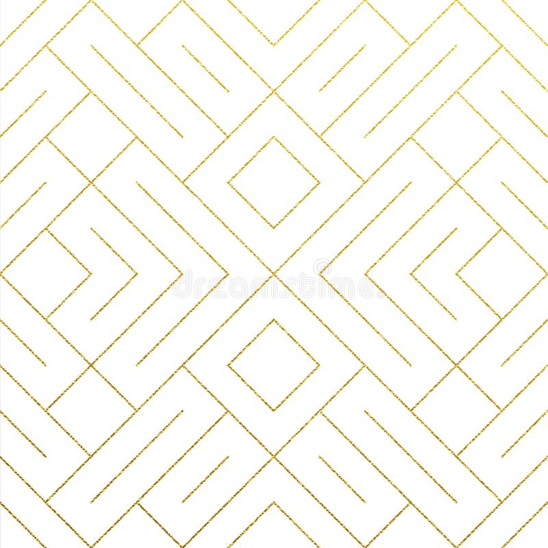 Abstract geometric golden seamless pattern background with gold glitter lines texture. Vector ornate geometry pattern of rhombus a stock illustration