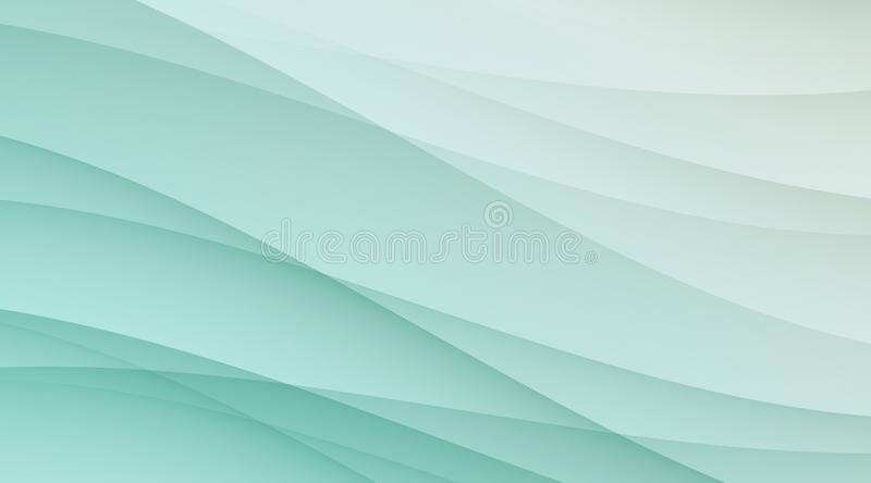 Fresh translucent sea green and white smooth diagonal curves elegant background template. Abstract geometric graceful and smooth diagonal curves background stock illustration