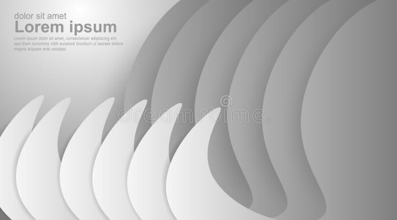 Abstract geometric gray gradient white background. Elegant curved lines and shapes with ideal color graphics design for just about royalty free illustration