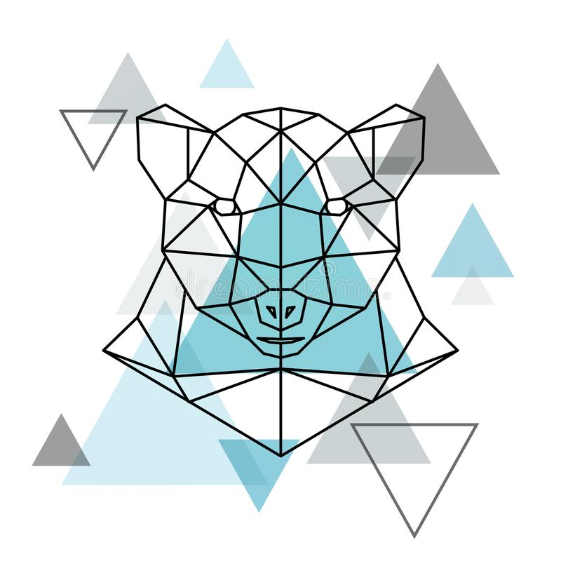 Abstract geometric head of a polar bear. Wild animal. Vector illustration stock illustration