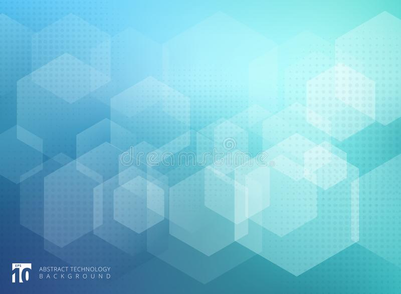 Abstract geometric hexagon overlay pattern on blue background. Technology template with copy space. Vector illustration vector illustration