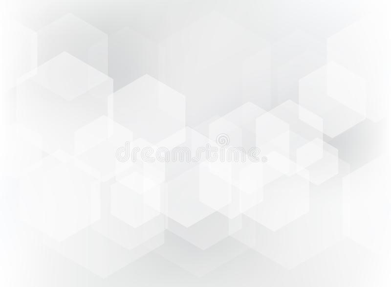 Abstract geometric hexagon overlay pattern on white and gray background. Technology template with copy space. Vector illustration royalty free illustration