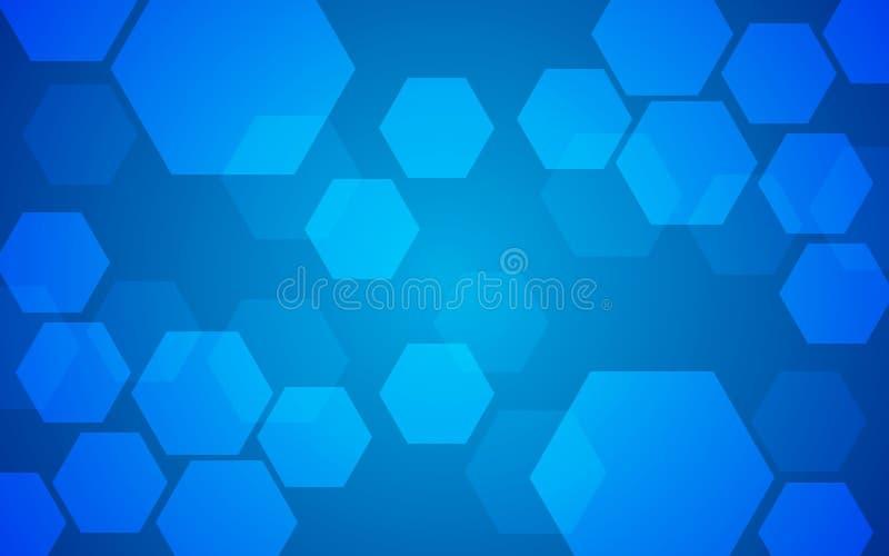 Abstract geometric hexagon pattern overlay on blue background. vector illustration