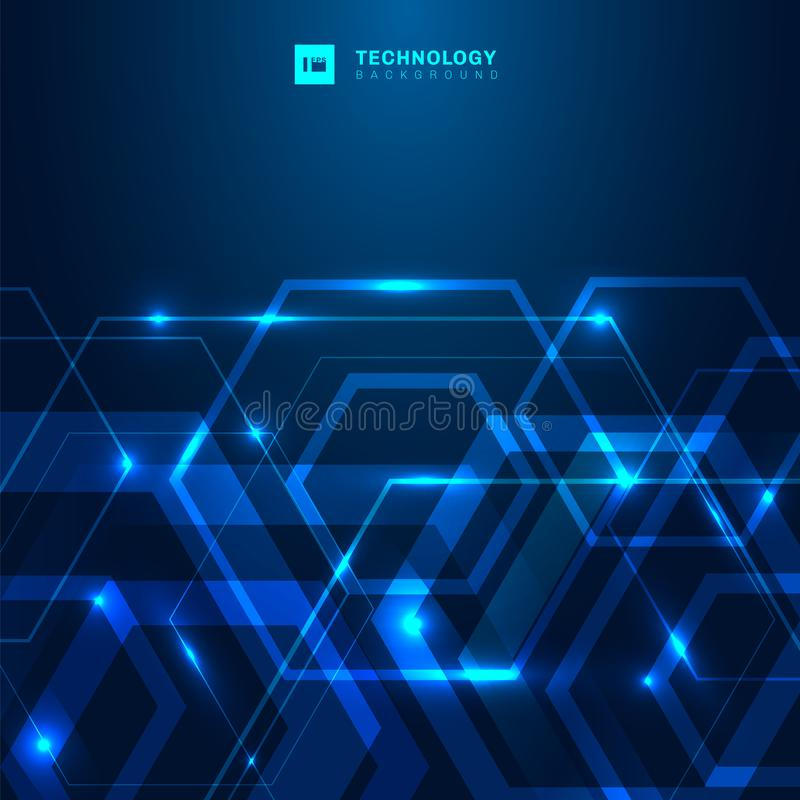 Abstract geometric hexagon shape with glowing light technology digital futuristic concept on dark blue background with space for vector illustration