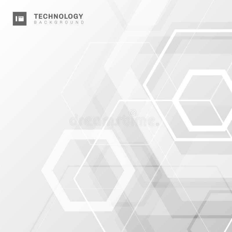 Abstract geometric hexagon shape technology digital futuristic concept white and gray background with space for your text royalty free illustration