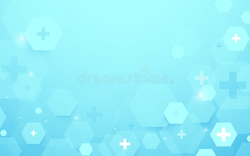 Abstract geometric hexagons shape medicine and science concept background. Medical Icons. Illustration vector royalty free illustration