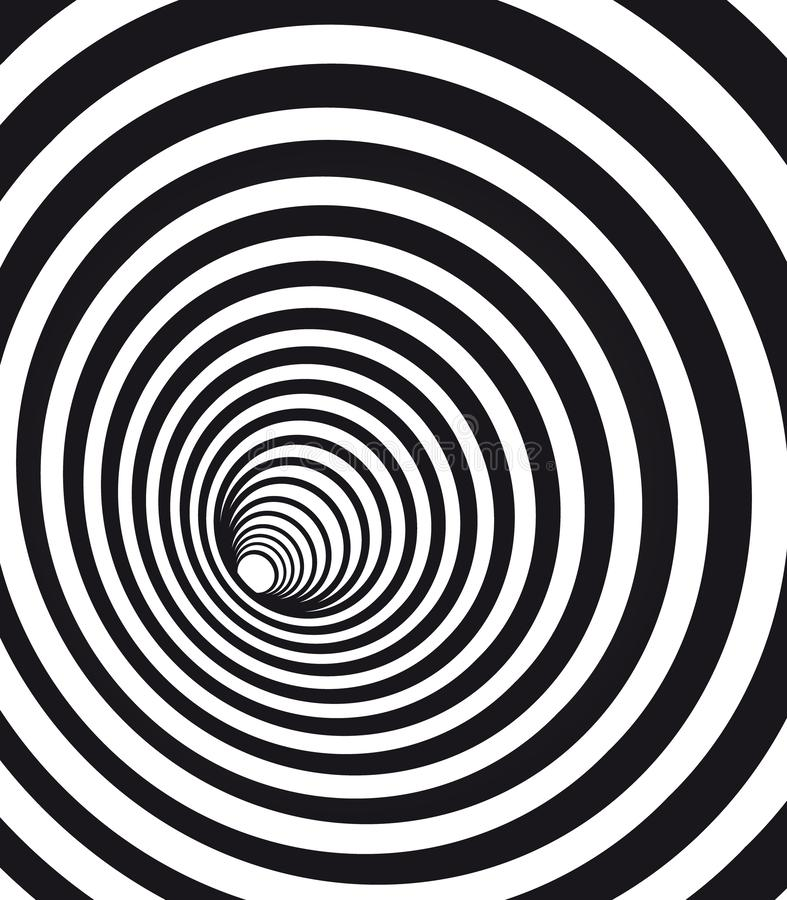Free Abstract Geometric Hypnotic Spiral. Black Wormhole Tunnel Optical Illusion. Stock Photo - 152319210
