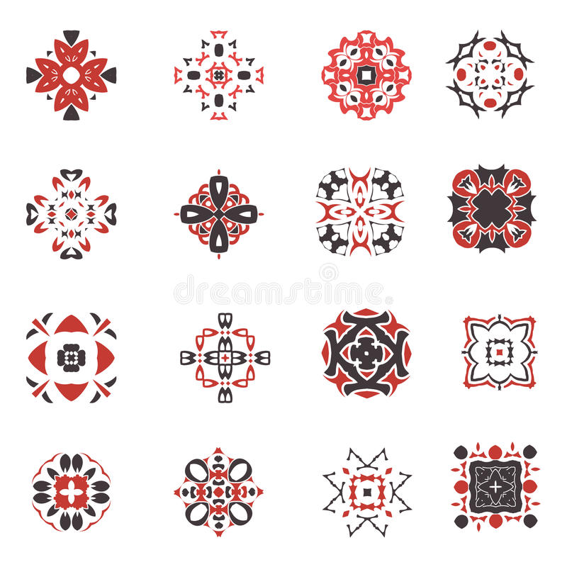 Abstract geometric icon set. Vector ornamental arabic style symbols. Design square collection stock illustration