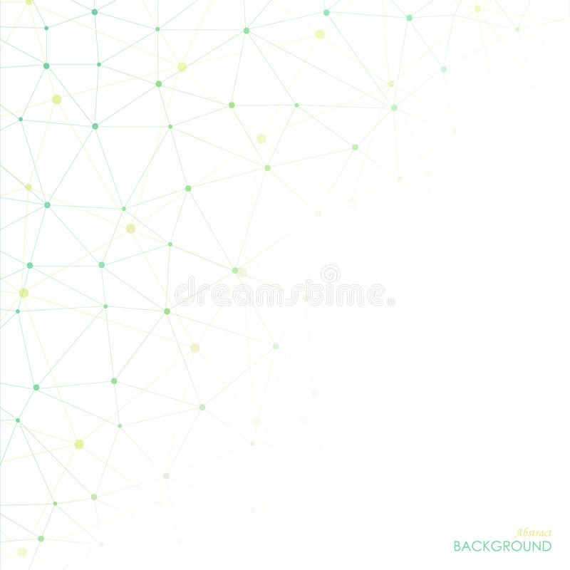 Abstract geometric lattice, the scope of green and yellow molecules. stock illustration