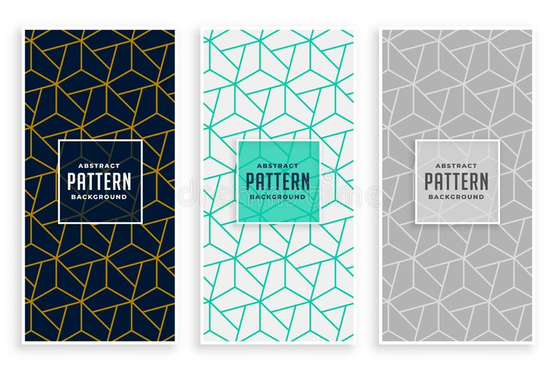 Abstract geometric lines pattern banners set stock illustration