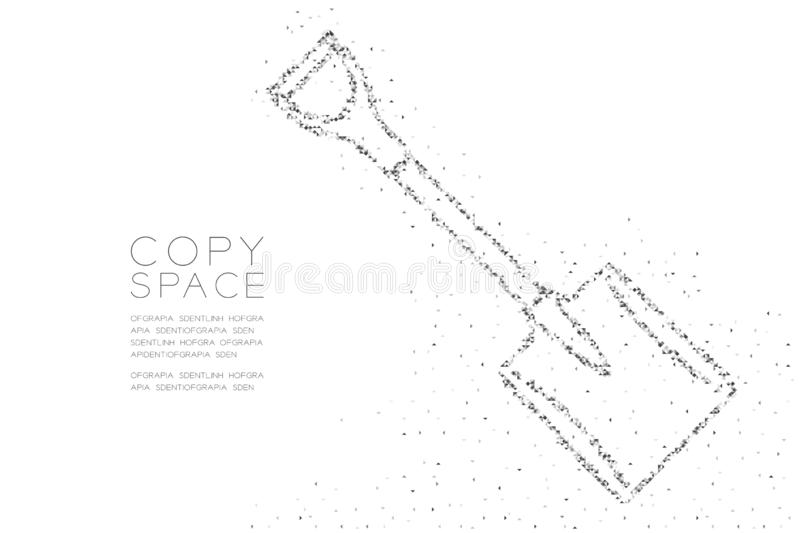 Abstract Geometric Low polygon square box pixel and Triangle pattern Shovel shape, Construction concept design black color. Illustration on white background stock illustration
