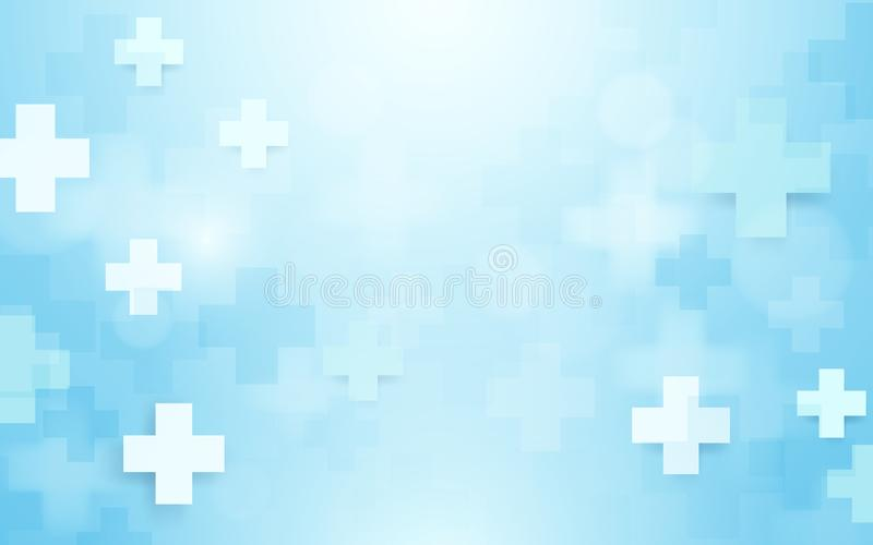 Abstract geometric medical cross shape medicine and science concept background. stock illustration