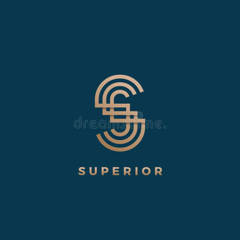 Abstract Geometric Minimal Vector Sign, Symbol or Logo Template. S letter Modern Monogram. Golden Gradient. Isolated on stock illustration