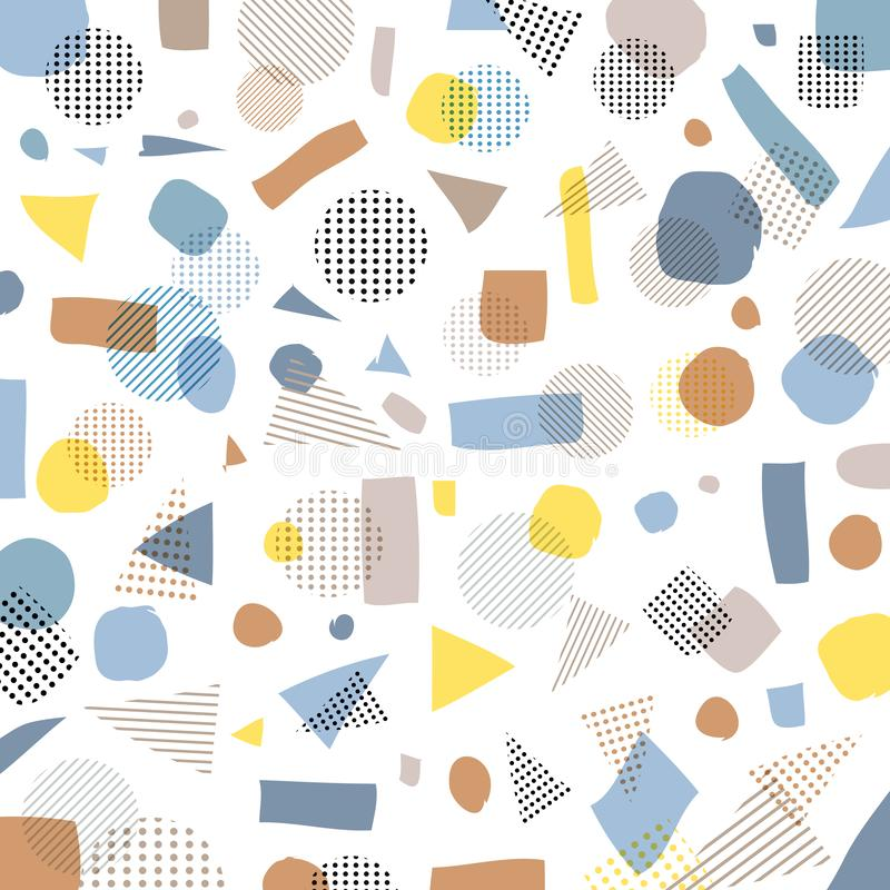 Abstract geometric modern pastels color, black dots pattern with royalty free illustration