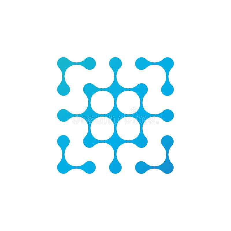 Abstract geometric molecule fluid maze labyrinth logo design. Vector illustration isolated on white background stock illustration