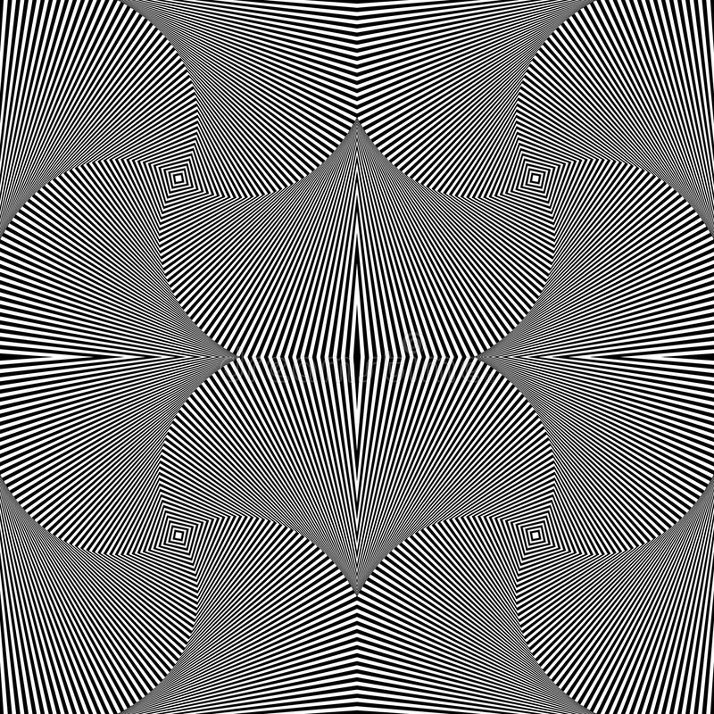 Abstract geometric monochrome background - Mosaic of 4 rotating vector illustration