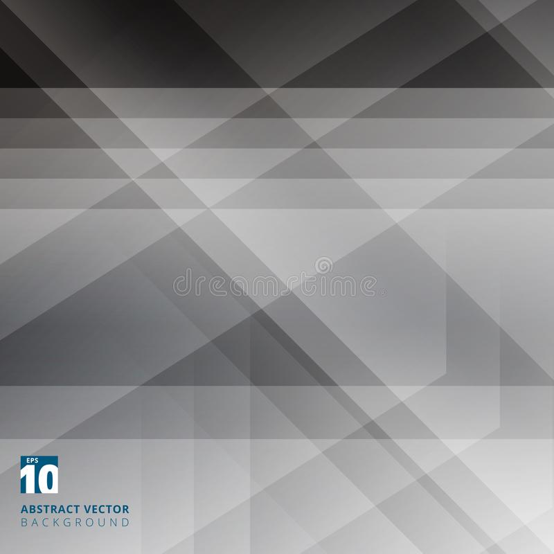 Abstract geometric overlay on black background with diagonal stripes. Technology and dynamic motion. For ad, print, brochure, fly. Er, poster, magazine, booklet vector illustration