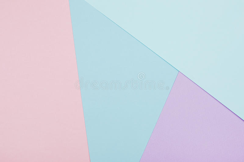 Abstract geometric paper background. Blue and pink trendy colors stock photo