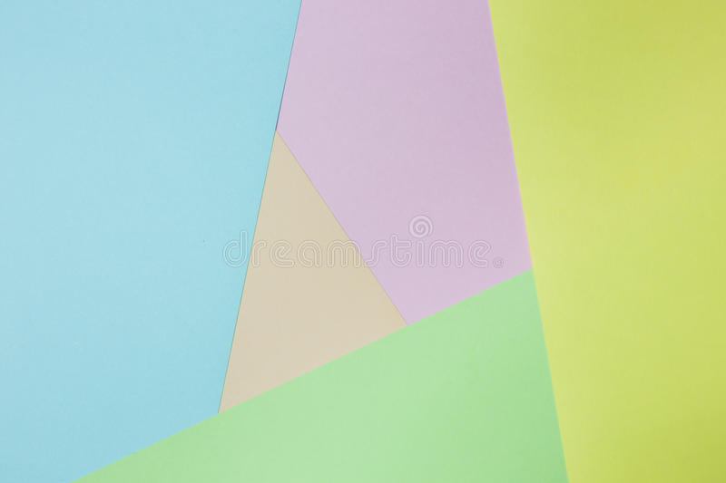 Abstract geometric paper background. Green, yellow, pink, orange, blue trend colors. stock photography