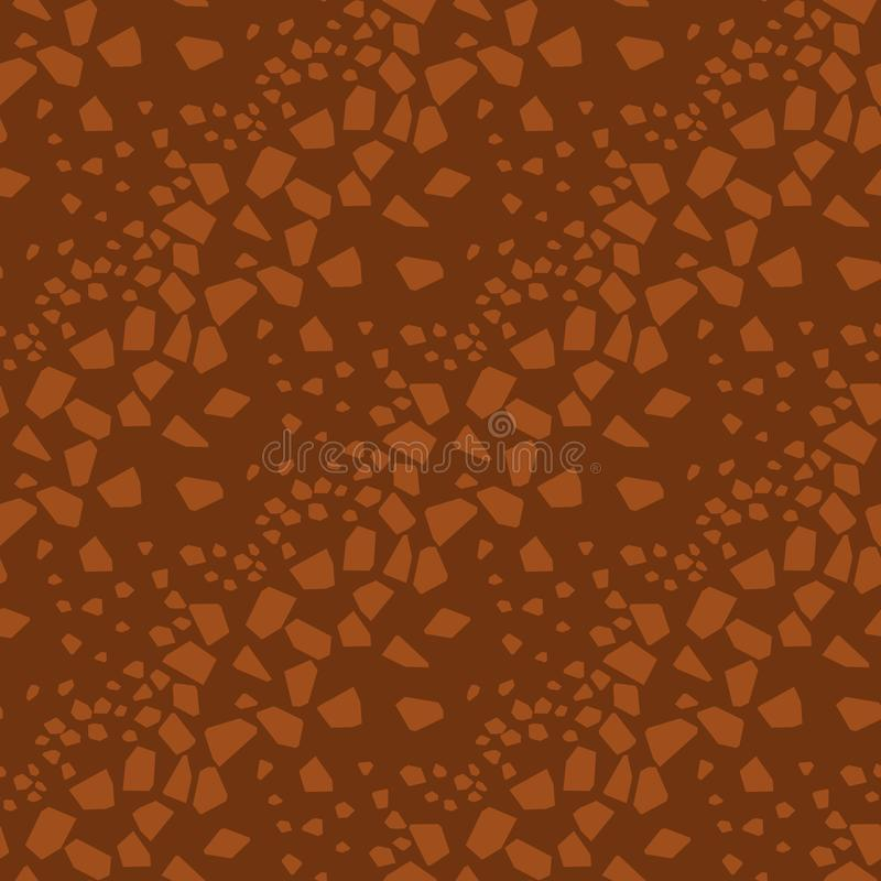 Abstract geometric particles seamless pattern. Polygonal mosaic hand drawn background. Brown fragmented patchwork drawing. Broken glass pieces. Wallpaper vector illustration
