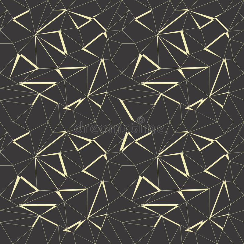 Abstract geometric pattern background with black and gold color stock illustration