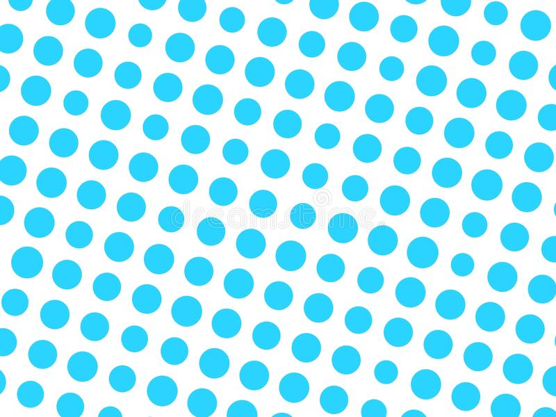 Abstract geometric pattern of blue circle dots in various sizes on white background. Modern stylish vector design royalty free illustration