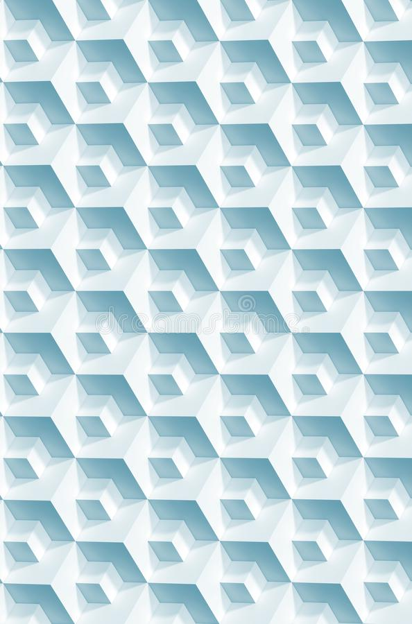 Abstract geometric pattern, blue white cubes. Vertical background, 3d render illustration royalty free stock photos