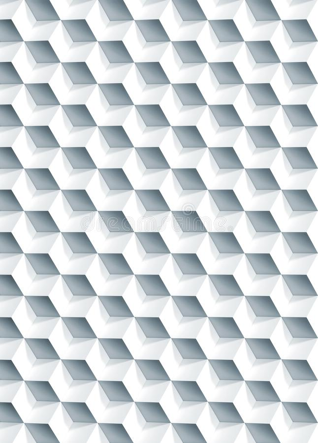 Abstract geometric pattern, 3d cubes texture. Abstract geometric pattern, white cubes texture, vertical background, 3d illustration royalty free stock images