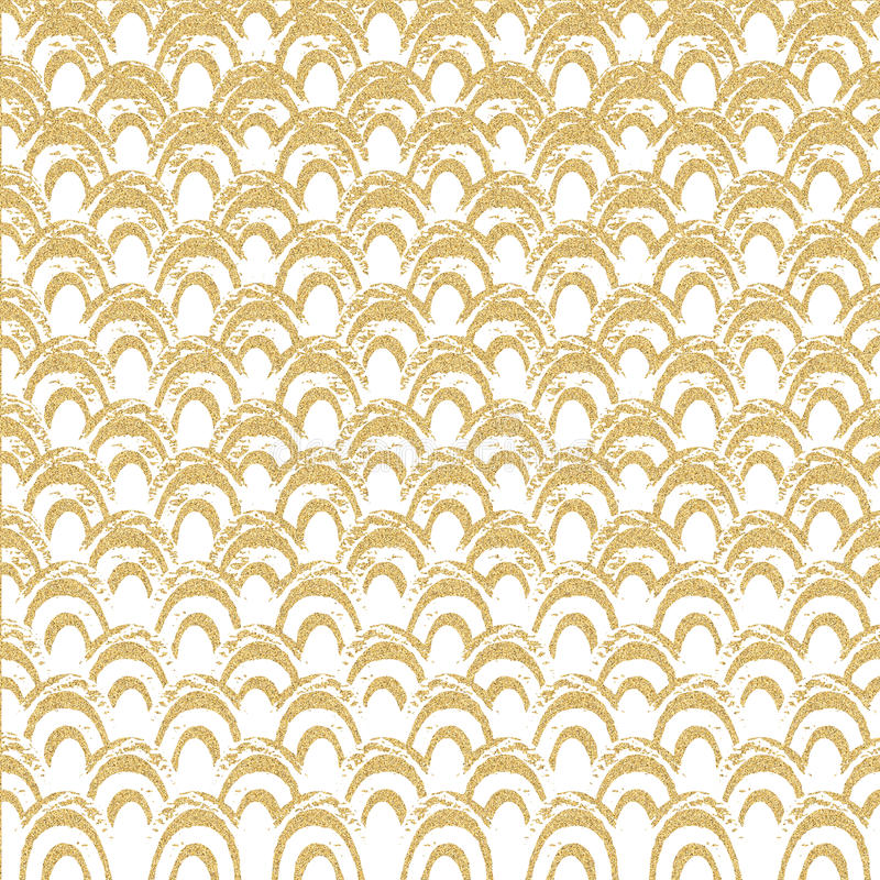 Abstract geometric pattern with gold glitter wave. Sea background. Hand-drawn vintage illustration. Creative template for card, poster, invitation, flyer royalty free illustration